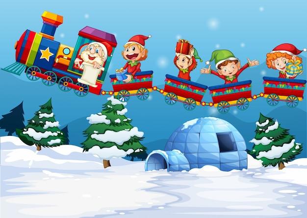 Santa y duende montando en tren