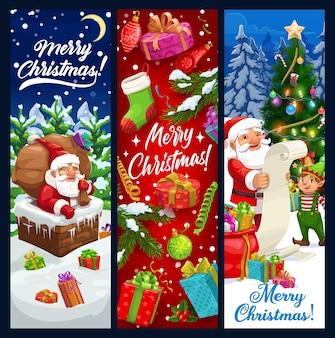 Santa y elfo de pancartas de felicitación de navidad.