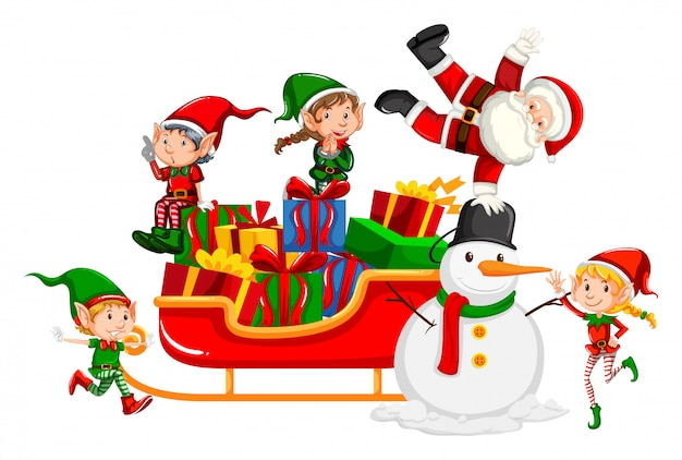 Santa y elfos de navidad en trineo