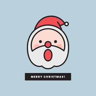 Santa con emoticon de boca abierta y mensaje de feliz navidad aislado