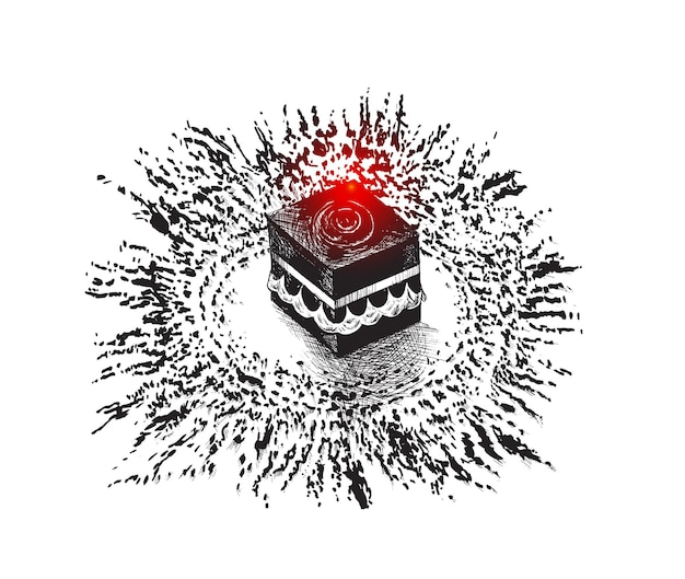Santa kaaba en la meca, arabia saudita, ilustración de vector de boceto dibujado a mano.