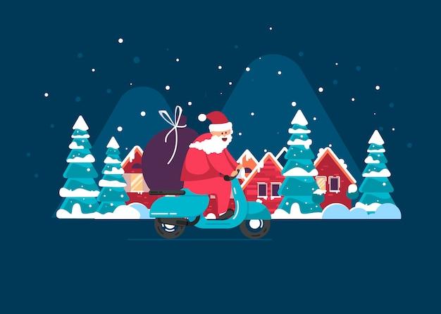 Santa lleva regalos en un ciclomotor contra una ciudad de invierno