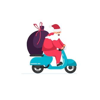 Santa lleva regalos en un ciclomotor contra
