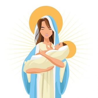 Santa maría mujer niña bebé jesús caricatura religión santo icono