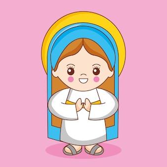 Santa maría virgen, ilustración de dibujos animados