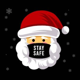Santa con máscara mantente a salvo