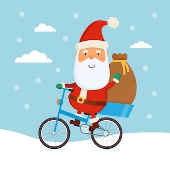 Santa montando una bicicleta
