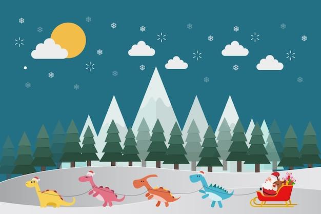 Santa montando en trineo con pequeños dinosaurios.