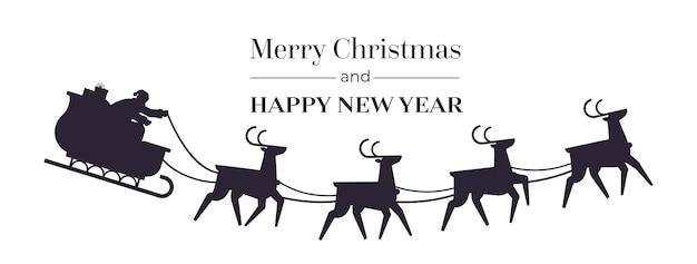 Santa montando trineo con renos feliz año nuevo y feliz navidad banner concepto de celebración de vacaciones ilustración de vector de espacio de copia horizontal
