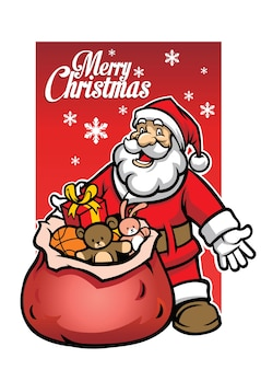 Santa con un montón de regalo de navidad