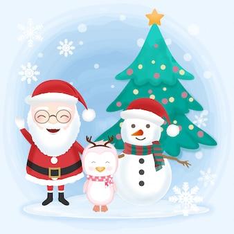 Santa con muñeco de nieve y pingüino