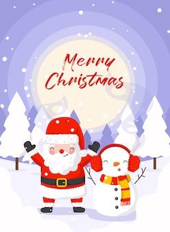 Santa y muñeco de nieve para tarjeta temática navideña o postal