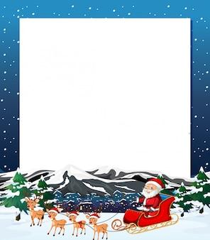 Santa navidad invierno marco en blanco con copyspace