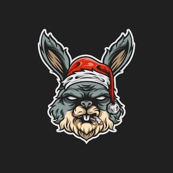 Santa rabit, mascota, ilustración