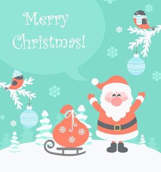 Santa con regalos enviando mensajes de feliz navidad.