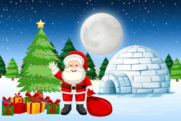 Santa con regalos en la nieve.