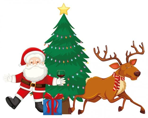 Santa y renos junto al árbol de navidad