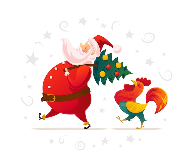 Santa y retrato de personajes de gallo divertido sobre fondo blanco. estilo de dibujos animados. año nuevo, feliz navidad, elemento de felicitación navideña. bueno para tarjetas navideñas, flayer,.