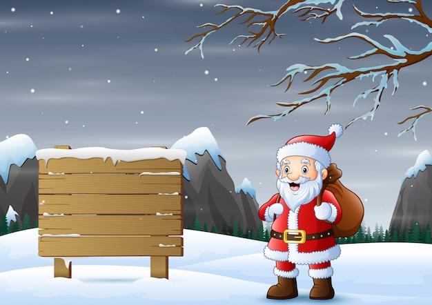 Santa con señal de tráfico congelado sobre fondo de invierno