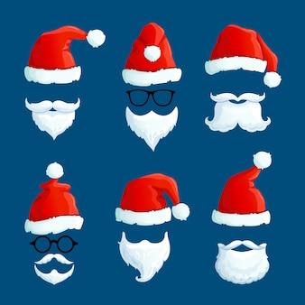 Santa sombreros con bigote y barbas. dibujos animados santa vistiendo de frente.
