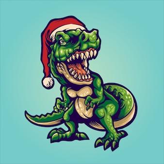 Santa t-rex ilustración