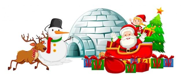 Santa en trineo y muñeco de nieve por iglú
