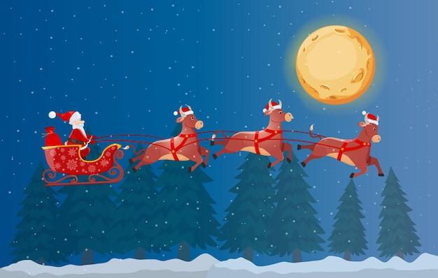 Santa en trineo y sus tres toros volando en la noche del bosque de invierno