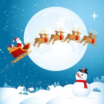 Santa viajando a través del cielo nocturno