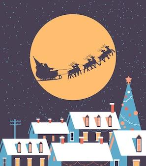 Santa volando en trineo con renos en el cielo nocturno sobre las casas nevadas del pueblo feliz navidad vacaciones de invierno concepto tarjeta de felicitación ilustración vectorial plana