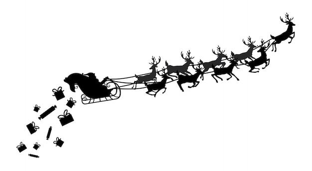 Santa volando en un trineo con renos. ilustración. objeto.