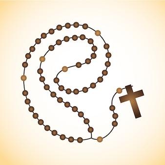 Santo rosario de madera marrón con ramo de flores.