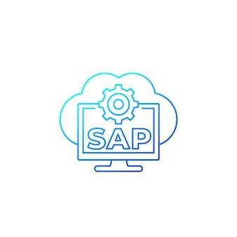 Sap, icono de línea de vector de software de nube empresarial