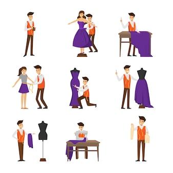 Sastre de diseñador masculino, medición y costura para set de cliente femenino