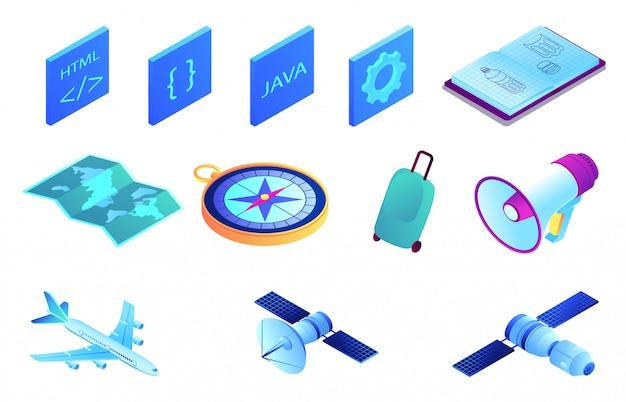 Satélite y desarrollo web isométrico conjunto de ilustración 3d.