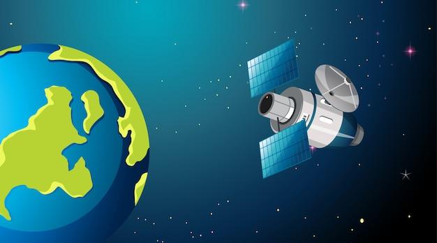 Satélite en escena o fondo espacial
