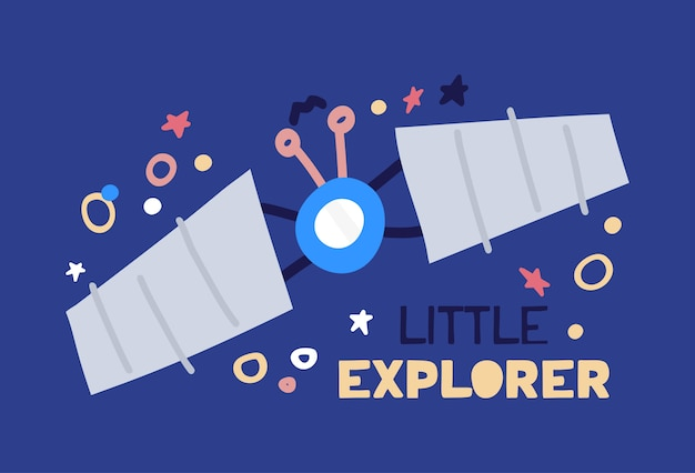 Satélite plano de dibujos animados volando con cielo estrellado. ilustración plana con texto pequeño explorador sobre fondo azul.