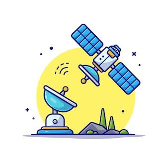 Satélite volador con ilustración de icono de dibujos animados de espacio de antena.
