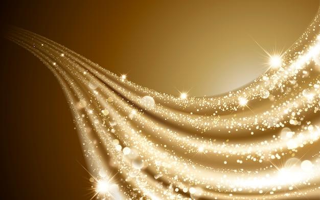 Satén dorado ondulado, elementos de partículas decorativas brillantes y brillantes, ilustración