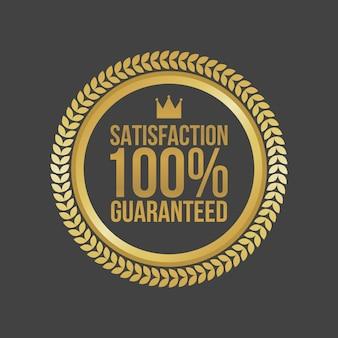 Satisfacción del vector garantizada letrero de oro, etiqueta redonda