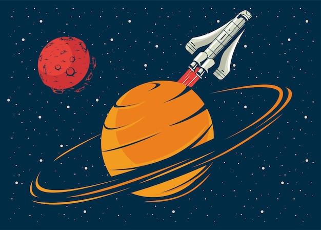 Saturrn y marte con nave espacial en cartel ilustración de estilo vintage