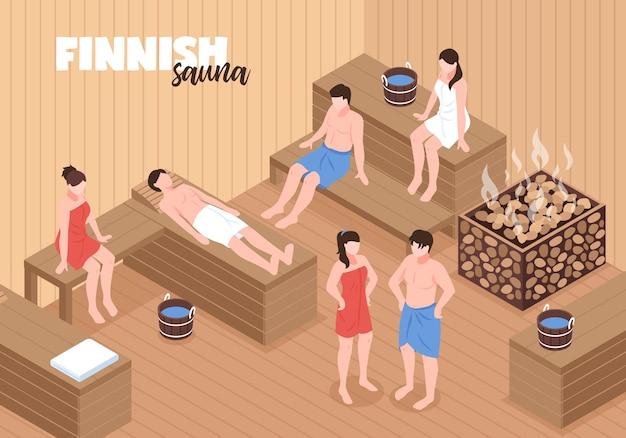 Sauna finlandesa con hombres y mujeres en bancos de madera y calentador con piedras ilustración vectorial isométrica