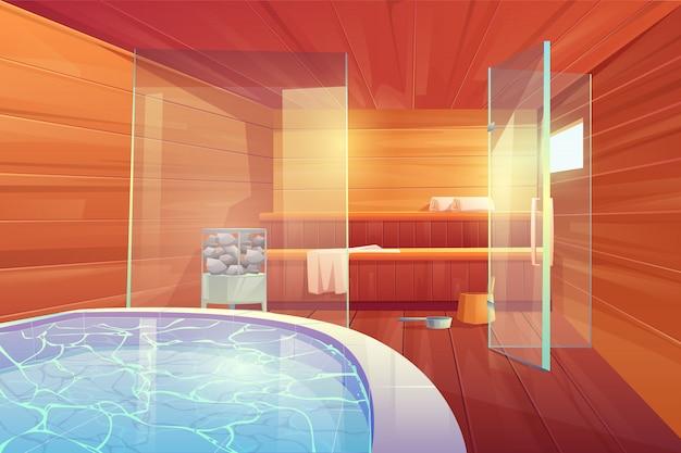 Sauna con piscina y puertas de vidrio interior.