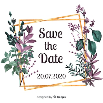 Save the date en acuarela con flores