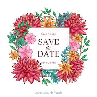 Save the date floral acuarela