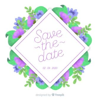 Save the date de flores en acuarela