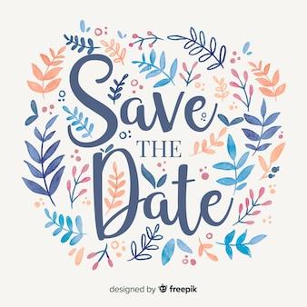 Save the date hojas acuarela