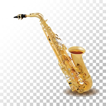 Saxofón aislado en transparente