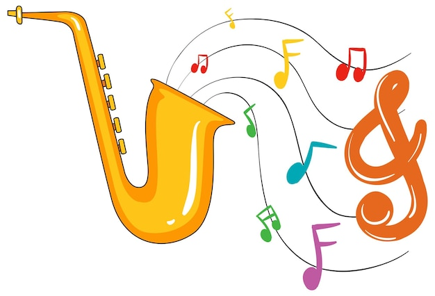 Saxofón dorado y notas musicales en segundo plano.