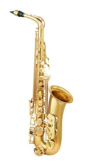 Saxofón realista dorado aislado sobre fondo blanco.
