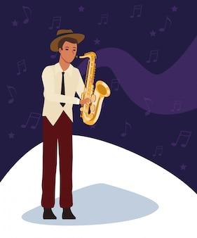 Saxofonista de dibujos animados, banda de música jazz